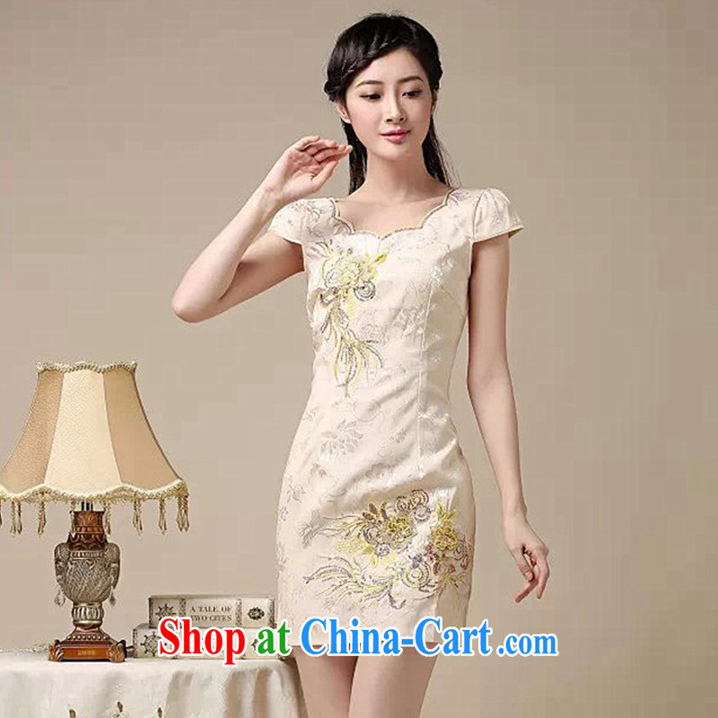 light at the embroidery embroidery and stylish summer dresses, Retro improved daily dresses, dresses AQE 0755 apricot XXL, light (at the end) QM, shopping on the Internet