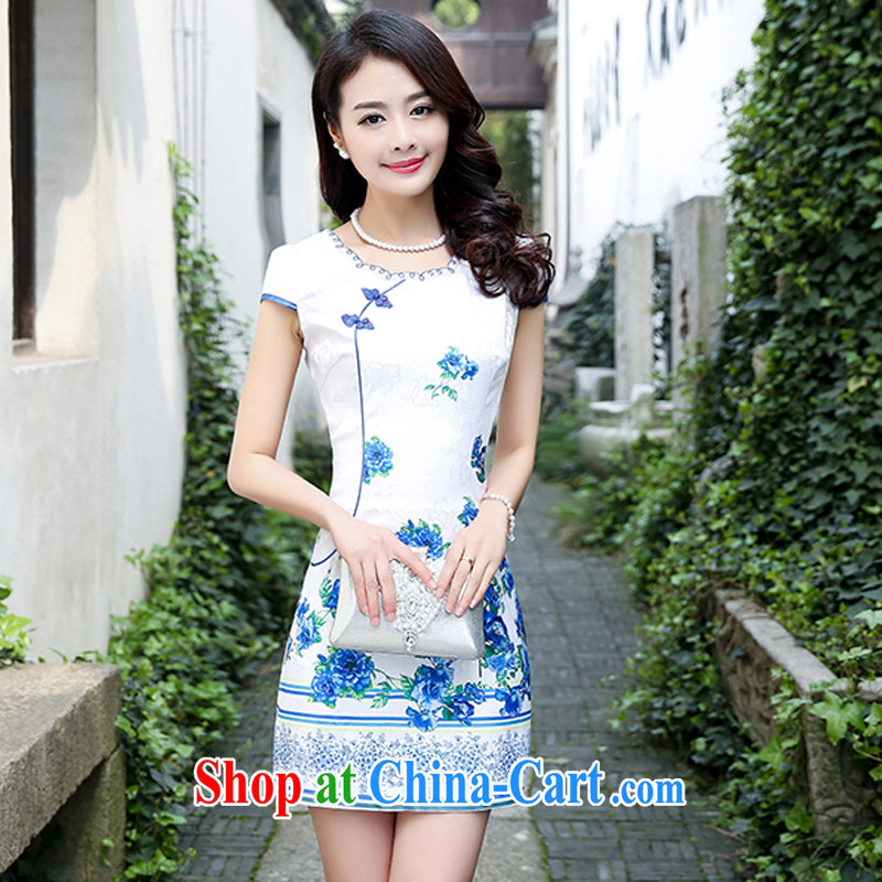 Summer 2015 new spring Stylish retro short Chinese qipao summer improved daily dresses jacquard cotton dress girl 5932 blue rose XXL