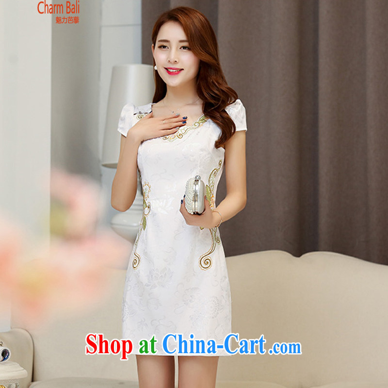 2015 summer edition Korea beauty and Stylish retro short-sleeved Chinese qipao, long dresses white M
