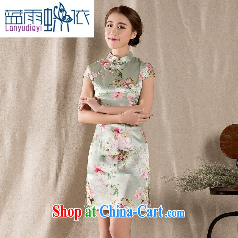 hamilton Z summer 1215 new tray snap stamp arts and cultural Ethnic Wind improved antique cheongsam dress China wind suit XXL
