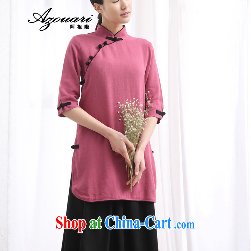 The TSU defense _Azouari_ Spring 2015 new Chinese qipao shirt linen cotton the cheongsam coat cardigan tea service retreat serving violet L new pre-sale 10 day shipping