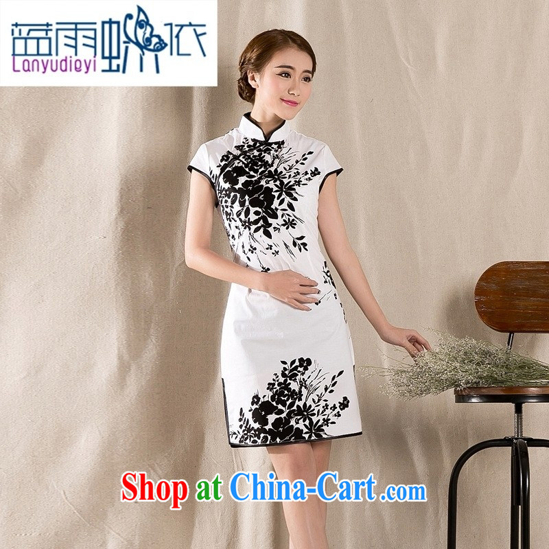 hamilton Z 1225 summer new stylish and refined antique cheongsam dress China wind stamp dresses white XXL