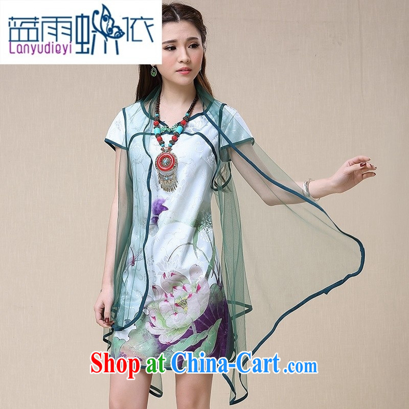 hamilton N 8958 spring and summer women China wind National wind stamp beautiful cheongsam dress Tang Drawing Color 2 XL