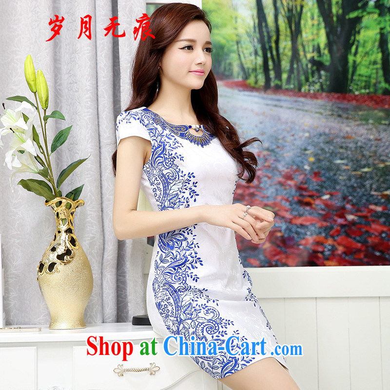 2015 new spring and summer with daily fashion outfit improved national wind antique cheongsam dress cheongsam white blue XXL