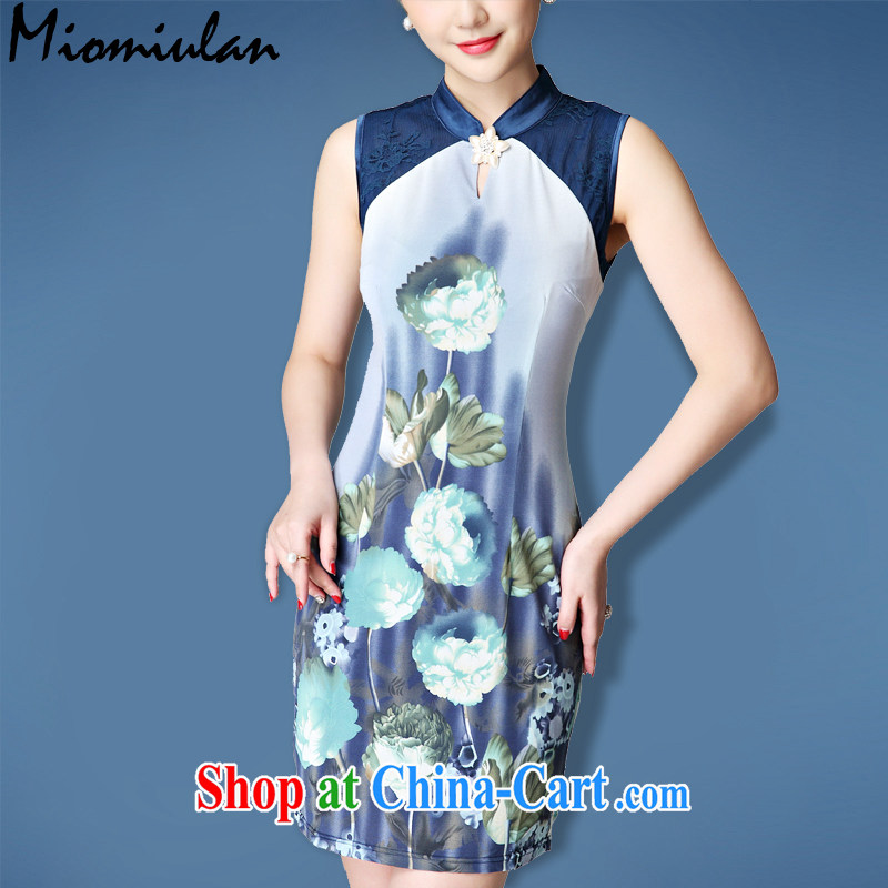 2015 summer new dress lace stitching and elegant antique style only American Beauty vest skirt cheongsam dress blue L