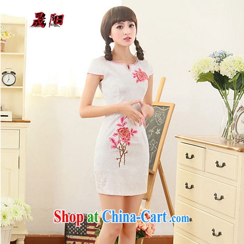 Sung Yang 2015 summer new Korean Beauty round-collar, adorned with bubble cuff exquisite embroidered stylish retro improved short-sleeved qipao dresses red XXL