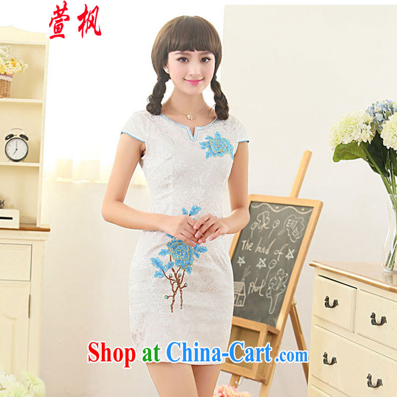 XUAN FENG 2015 summer new Korean Beauty round-collar, adorned with bubble sleeves and delicate embroidered stylish retro improved short-sleeved qipao dresses blue XXL