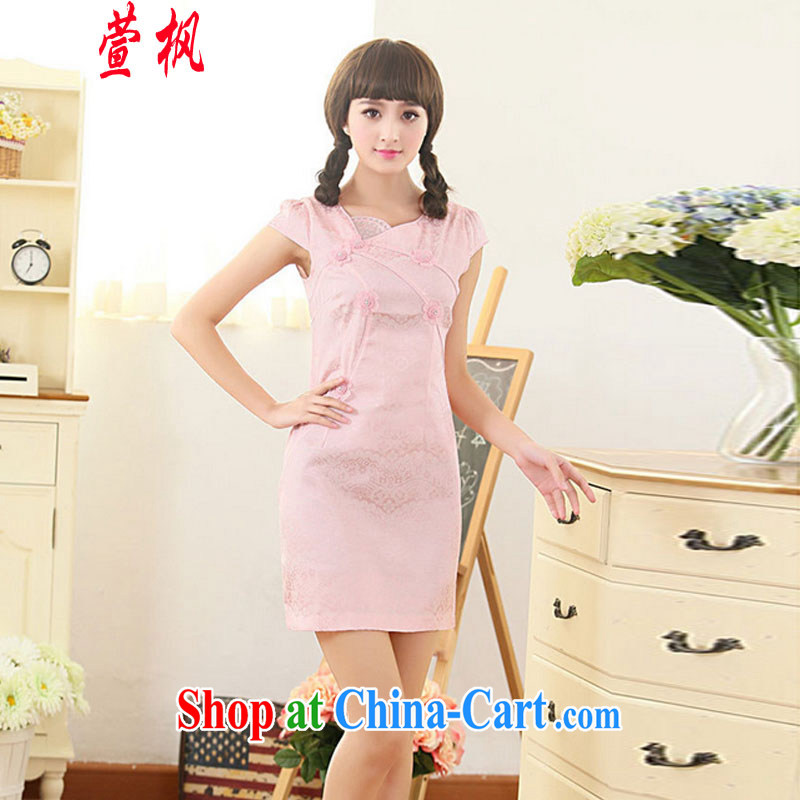 XUAN FENG 2015 summer new Korean Beauty asymmetric fans for exquisite embroidered stylish retro female improved cheongsam short-sleeved dresses pink XXL