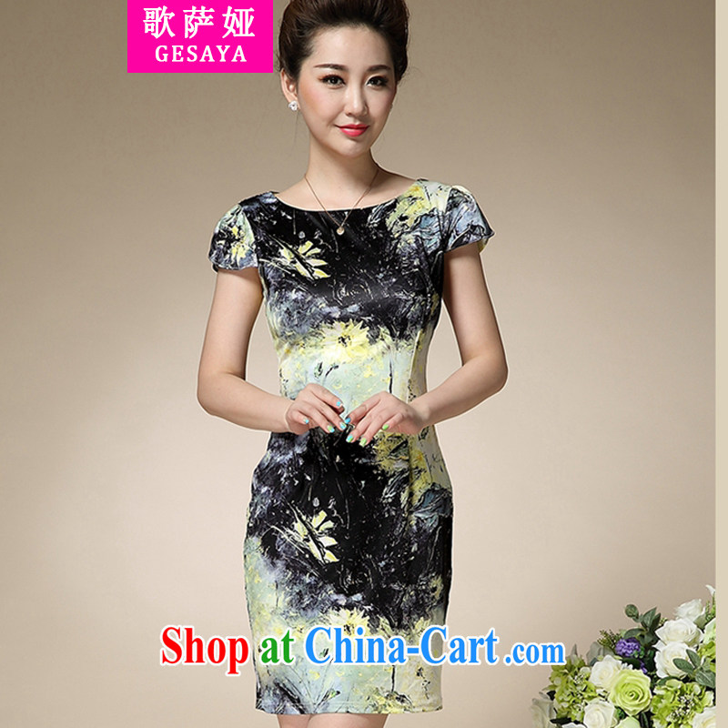 Song, Julia 2015 summer new stamp duty round-collar short-sleeve Sau San emulation Silk Dresses beauty charm antique dresses black XXXL