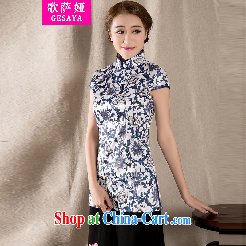 Song, Julia 2015 spring and summer with new Ethnic Wind Chinese improved cheongsam shirt cultivating cotton Ms. Yau Ma Tei Tong with fancy XXL