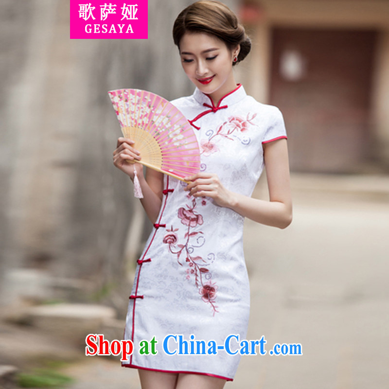 Song, Julia 2015 spring and summer New Tang with retro improved stylish short, cultivating daily cheongsam dress white L