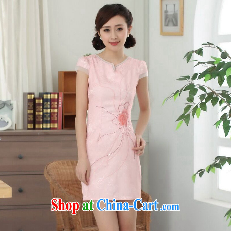 Find Sophie summer wear cheongsam dress Tang with improved graphics thin short qipao cotton round neck elegance short-sleeved dresses - B pink 2 XL