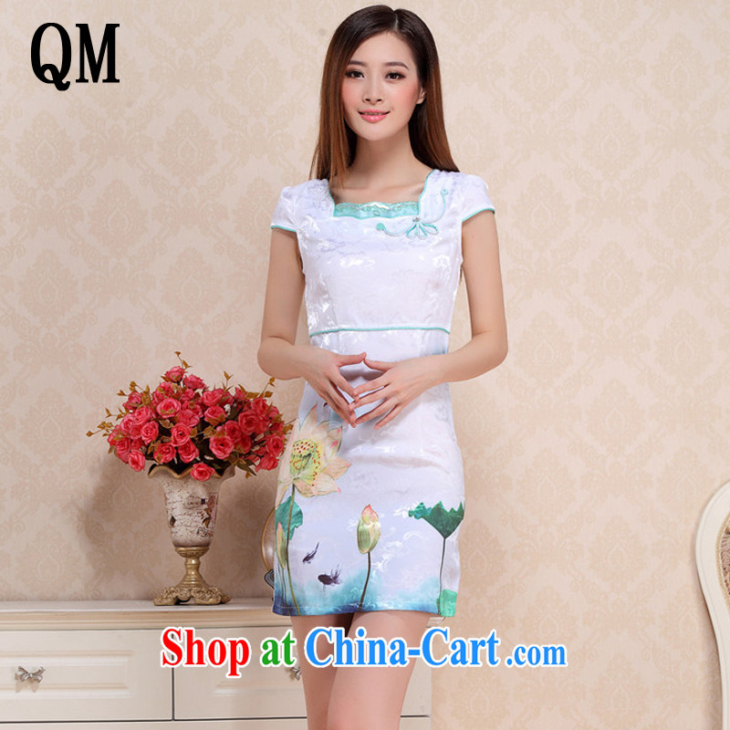 End very Stylish retro Lotus cheongsam dress 2015 summer day improved cheongsam AQE 0751 green XXL