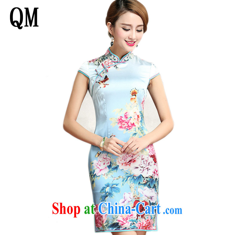Light the heavy silk peony flower cheongsam retro improved daily sauna Silk Cheongsam dress AQE 023 Map Color XXL