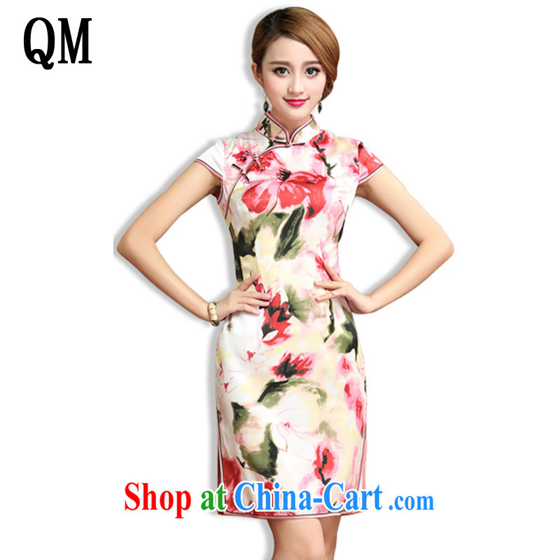 light at the classical Chinese Dress heavy silk mulberry Silk Cheongsam dress Korea Chinese female summer AQE 024 floral XXXL