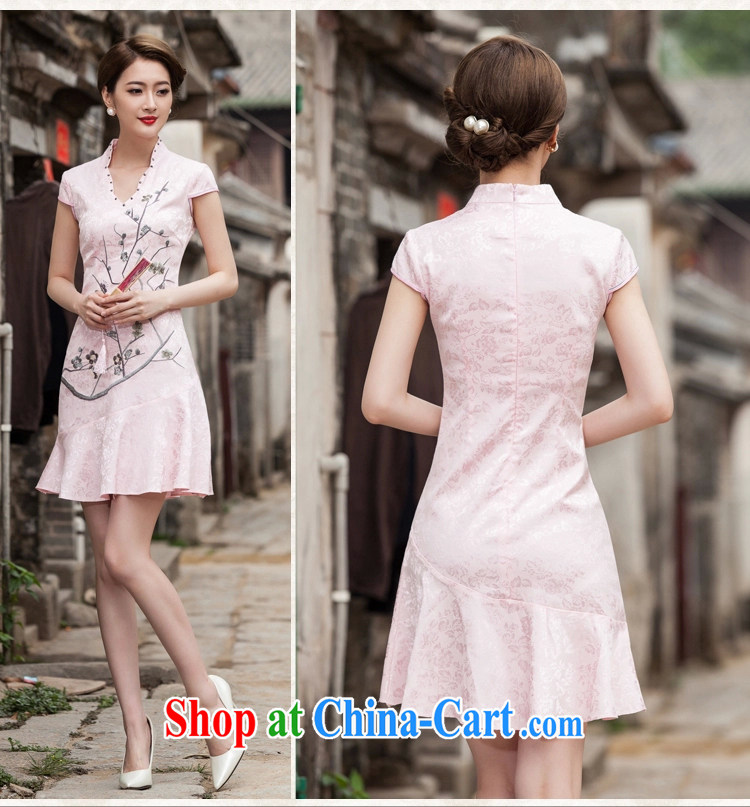 Song, Julia 2015 spring and summer new short-sleeved V collar embroidered Phillips nails Pearl crowsfoot skirt with embroidery short cheongsam white XL pictures, price, brand platters! Elections are good character, the national distribution, so why buy now enjoy more preferential! Health