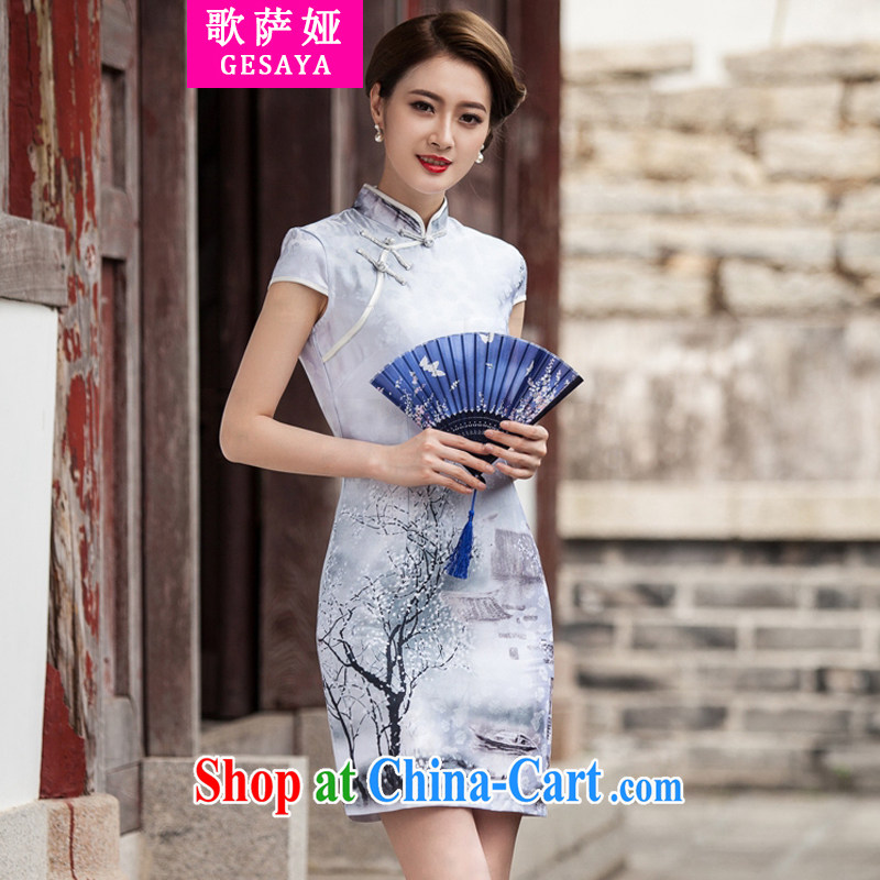 The song Julia 2015 new painting classic short-sleeve cheongsam dress retro fashion China Daily outfit XL paintings