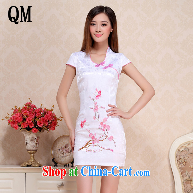 light at the Summer embroidery Phillips short cheongsam classical style cheongsam dress Chinese etiquette serving AQE 0718 pink XXL