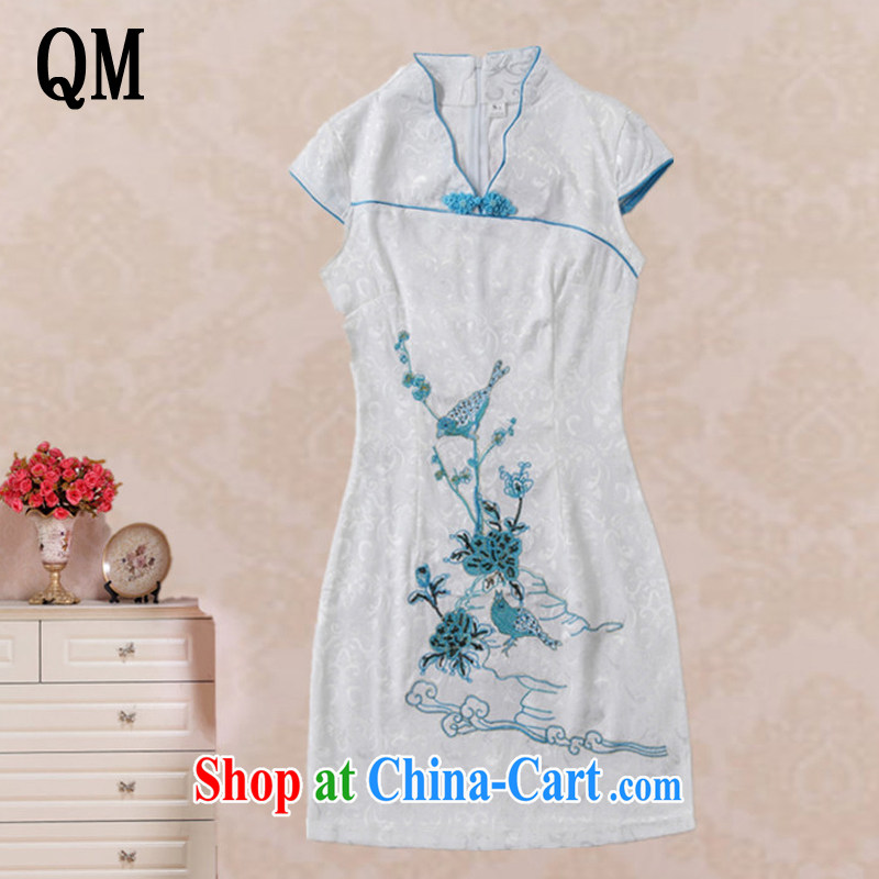 light at the Summer beauty stylish bird embroidery cheongsam short-sleeved retro improved daily Chinese qipao AQE 637 blue XXL
