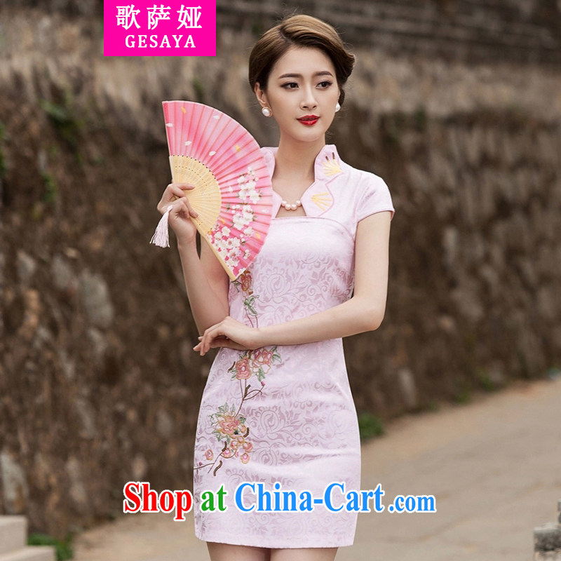 Song, Julia 2015 new summer fashion improved cheongsam dress daily video thin beauty short cheongsam dress, pink XL