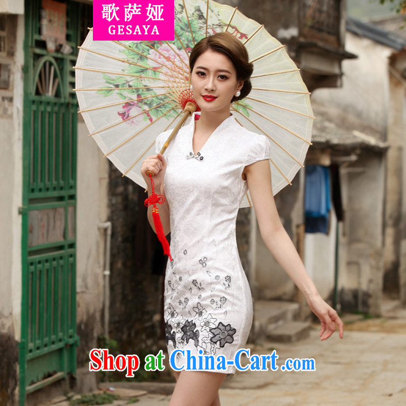 Song, Julia 2015 new Stylish retro short dresses summer improved cheongsam dress, daily outfit skirt white XXL