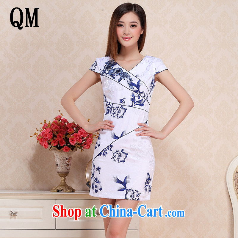light at the Summer retro improved daily cheongsam beauty graphics thin floral cheongsam dress Korea elegance dresses AQE 0719 blue and white porcelain XXL
