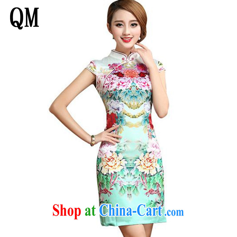 light at the summer short-sleeved Silk Cheongsam dress retro stylish upmarket sauna Silk Dresses small dress AQE 026 Map Color XXL
