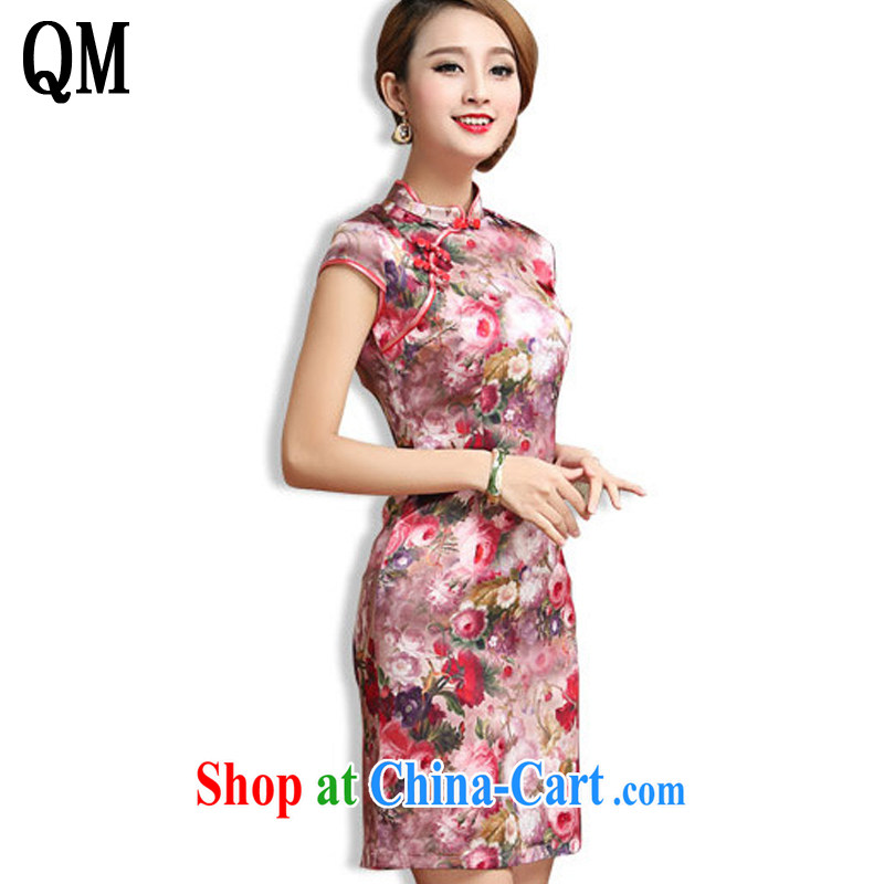 Shallow end elegance short cheongsam heavy silk mulberry Silk Cheongsam dress antique Chinese Korea dresses AQE 027 Map Color XXXL