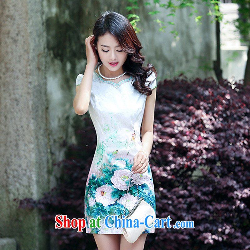 2015 new suit Daily High jacquard cotton robes spring and summer retro fashion beauty dresses dresses women 5931 green XXL