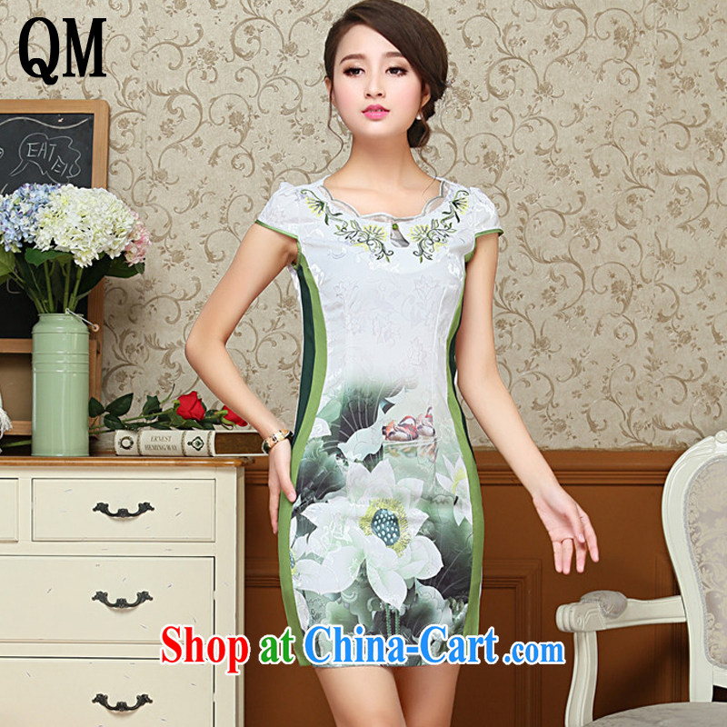 The end is very stylish and embroidery flower cheongsam cotton improved daily cheongsam dress Korea Tang with elegant female AQE 1025 green XL
