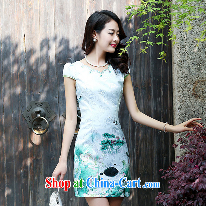 2015 new summer cotton MA the cheongsam retro pink floral stamp improved cheongsam dress 5930 light green XL