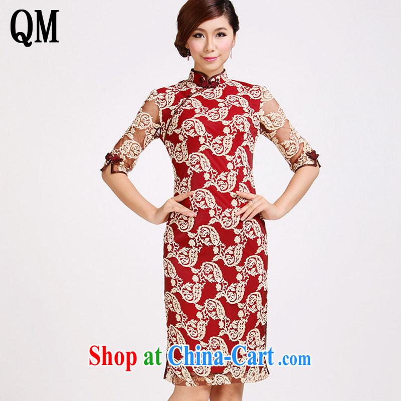 Shallow end marriages in red sleeveless dresses retro improved stylish lace cheongsam dress summer dress AQE 029 red XXL
