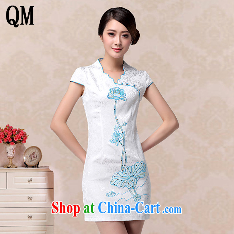 Light the lady aura V for cultivating dresses retro improved fashion cheongsam dress embroidered Lotus dresses AQE 658 blue XXL