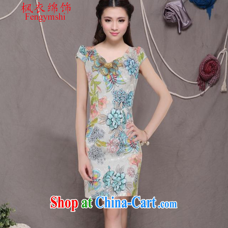 Feng Yi cotton trim 2015 new embroidery cheongsam high-end ethnic wind and stylish Chinese qipao dress retro beauty graphics thin cheongsam apricot shipping XXL .