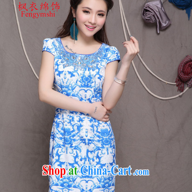 Feng Yi cotton trim 2015 new high-end Ethnic Wind and stylish Chinese qipao dress retro beauty graphics thin cheongsam blue Blue. S .