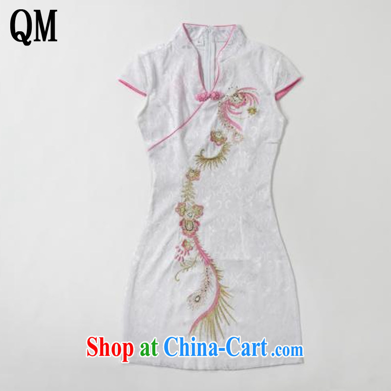 light at the retro embroidery Phoenix short-sleeved qipao improved daily dresses, dresses of Korea Tang women AQE 613 pink XXL