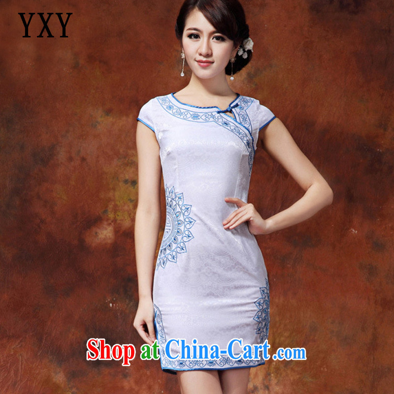 Stakeholders line cloud embroidered lotus petals short qipao cotton-maize cheongsam dress dress summer dress AQE 920 blue XXL