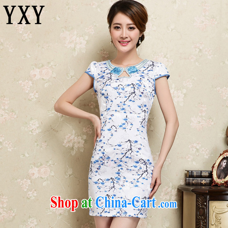 Stakeholders line cloud summer ethnic wind and stylish retro dresses short-sleeved improved daily sexy cheongsam dress AQE 909 green XXL