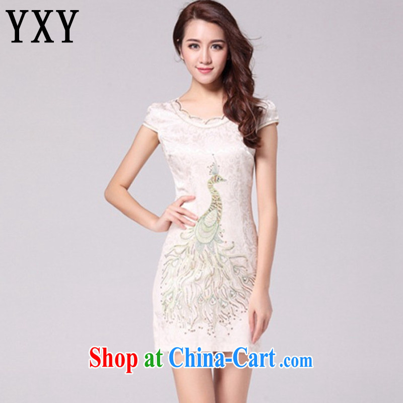 Stakeholders clouds National wind women embroidery Peacock retro dresses the style beauty dresses show clothing AQE 9031 apricot XXL