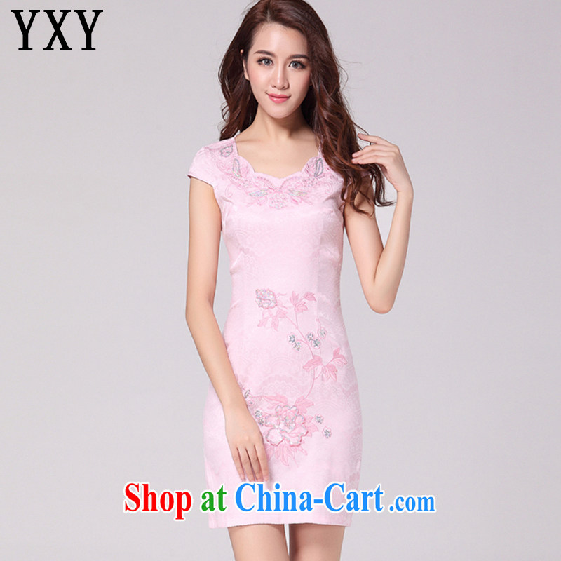 Stakeholders line cloud retro style hot drill short summer dresses new improved daily cheongsam dress AQE 9021 pink XXL
