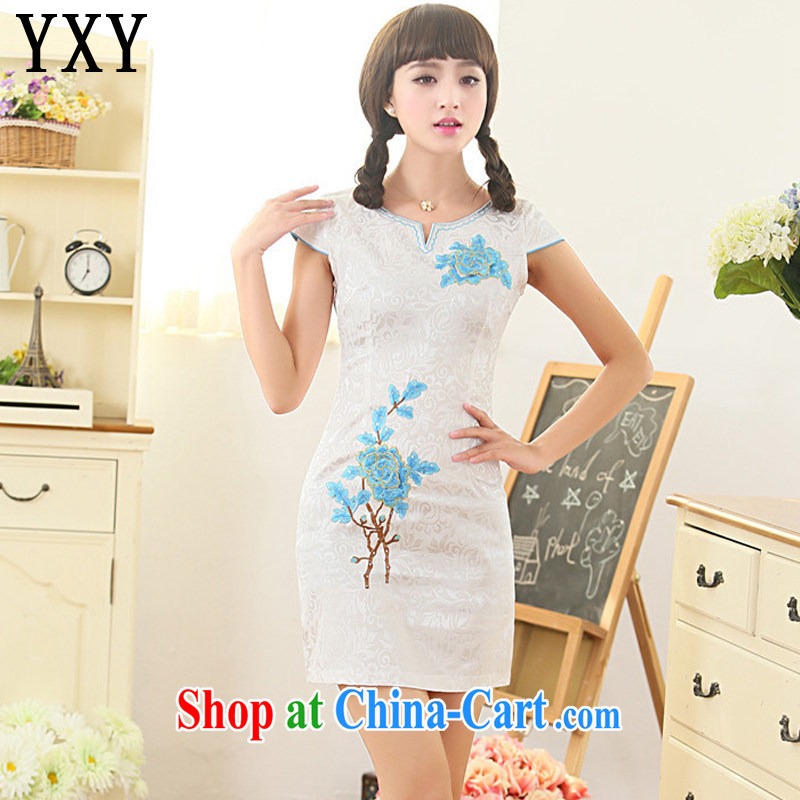 Death Row cloud summer beauty style cheongsam improved daily dresses, dresses and elegant Korea Tang replace AQE 811 blue XXL