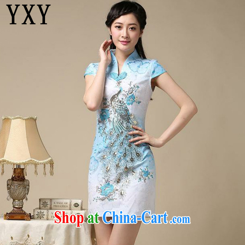 Stakeholders line cloud National wind retro Phoenix Peacock embroidery embroidery cheongsam dress improved daily short cheongsam dress even AQE 8218 blue XXL