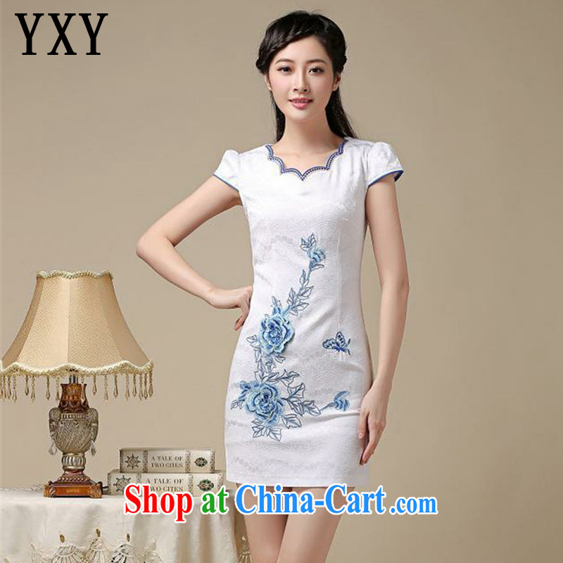 At stake line cloud teenage students with classical show clothes dresses summer retro improved daily cheongsam dress AQE 8216 blue XXL