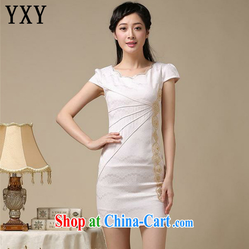 Death Row cloud summer elegance beauty short cheongsam dress retro improved daily cheongsam dress AQE 8168 apricot XXL