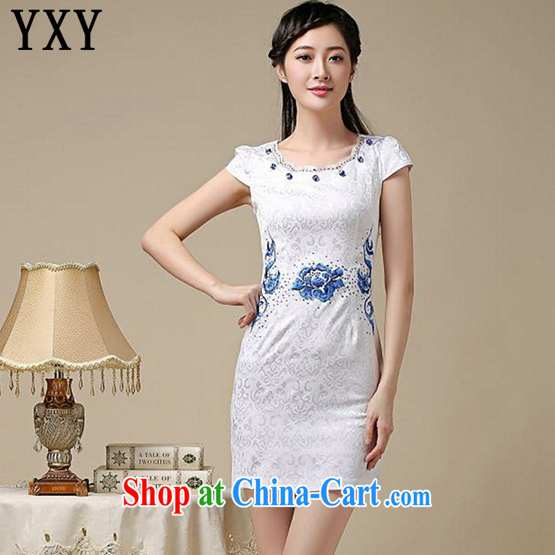 At stake line cloud National wind female Chinese antique dresses improved daily round-collar girls dresses, dresses AQE 8211 blue XXL