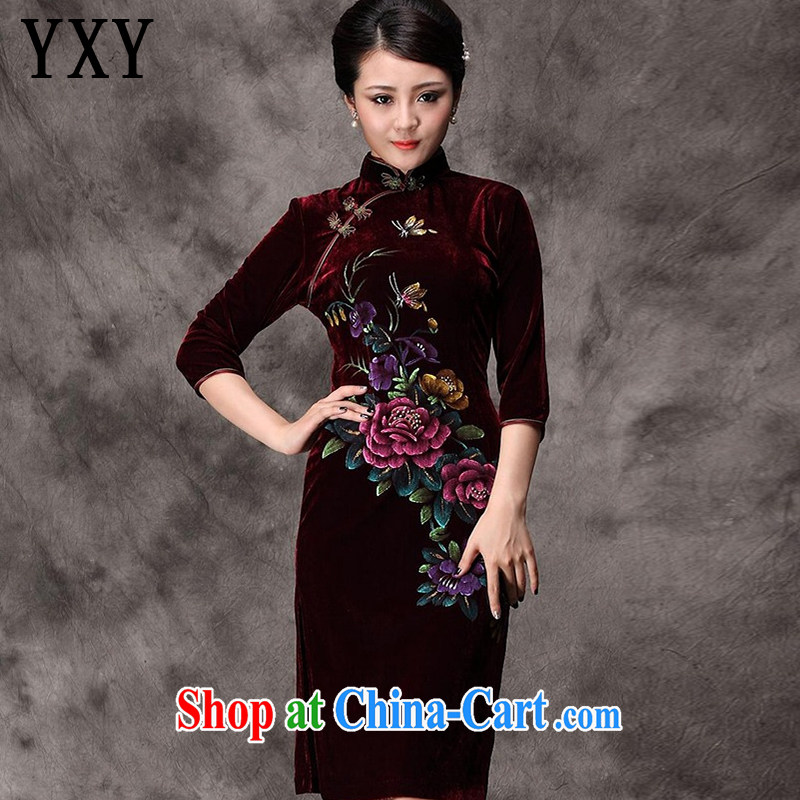 The stakeholders in the cloud long-sleeved gold velour cheongsam dress hand-painted peony flowers, old mother married dresses with Chinese AQE Uhlans on 8868 in XXXXL cuff