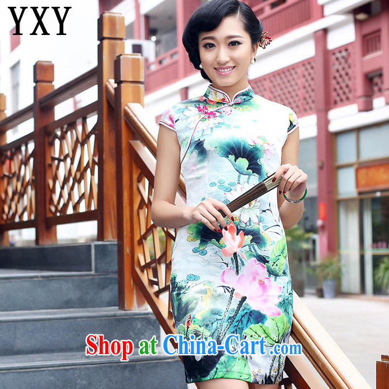 Stakeholders line cloud heavy Silk Cheongsam improved daily summer female sauna Silk Dresses AQE 8073 Map Color XXXL