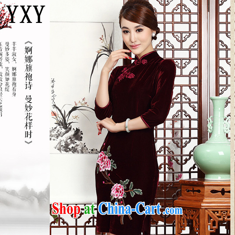 Stakeholders line cloud short embroidery cheongsam stylish retro MOM cheongsam dress gold velour dresses wedding dresses AQE 002 wine red XXXL