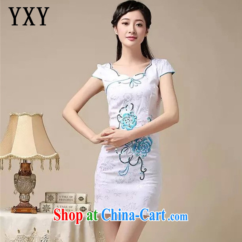 Death Row cloud summer cotton embroidered short cheongsam elegance lady fashion cheongsam dress AQE 0755 blue XXL
