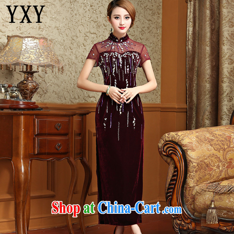 At stake line cloud long, gold velour cheongsam dress Chinese antique dresses serving toast AQE 001 wine red XXXXL